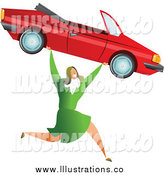 Royalty Free Stock Illustration of a Successful White Businesswoman Carrying a Convertible Car by Prawny