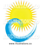 Royalty Free Stock Illustration of a Sun and Ocean Wave by KJ Pargeter