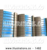 November 13th, 2013: Royalty Free Stock Illustration of a Tall Row of Powerful Blue Server Racks Hosting Services to Customers by 3poD