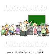 Royalty Free Stock Illustration of a Teacher and Elementary School Students in Classroom by Djart