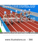 Royalty Free Stock Illustration of a Team of Businesspeople in Matching Uniforms, Running a Marathon on a Race Track and Completing a Race at the Same Time by 3poD
