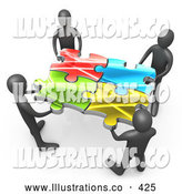 Royalty Free Stock Illustration of a Team of Four Friendly Black People Holding up Connected Pieces to a Colorful Puzzle, Symbolizing Excellent Teamwork, Success and Link Exchanging by 3poD
