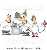 Royalty Free Stock Illustration of a Team of Four Male and Female Chemists Testing Chemicals in a Chemistry by Djart