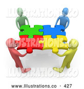 November 7th, 2013: Royalty Free Stock Illustration of a Team of Friendly Diverse People Holding up Connected Pieces to a Colorful Puzzle, Symbolizing Excellent Teamwork, Success and Link Exchanging by 3poD