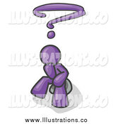Royalty Free Stock Illustration of a Thinking Purple Business Man with a Question Mark over His Head by Leo Blanchette