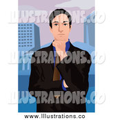 Royalty Free Stock Illustration of a Thinking Urban Business Man Against a City by Mayawizard101