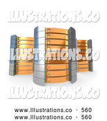Royalty Free Stock Illustration of a Three Orange Towers of Server Racks on White by 3poD
