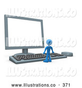 Royalty Free Stock Illustration of a Tiny Person at a Computer Keyboard and Looking up at a Flat Screen Lcd Monitor Screen by 3poD
