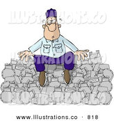 Royalty Free Stock Illustration of a Tired and Overworked Repairman Sitting on a Pile of Broken Gas Meters by Dennis Cox