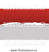 Royalty Free Stock Illustration of a Torn Paper Business Card Background with Red and Gray Copyspace by KJ Pargeter