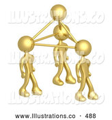Royalty Free Stock Illustration of a Trio of Gold Business People Connected by Atoms, Symbolizing Teamwork, Brainstorming, Creativity and Ideas by 3poD