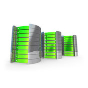 Royalty Free Stock Illustration of a Trio of Green Towers of Server Racks by 3poD