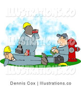 Royalty Free Stock Illustration of a Trio of Male Workers Taking a Lunch Break Outside by Djart