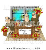 Royalty Free Stock Illustration of a Trio of Men Working in a Flower Store by Dennis Cox