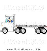 Royalty Free Stock Illustration of a Trucker Man Backing up a Semi Truck with an Empty Flatbed Trailer by Dennis Cox