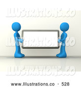 Royalty Free Stock Illustration of a Two Blue Men Holding up a Blank Sign Ready for an Advertisment by 3poD