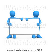 Royalty Free Stock Illustration of a Two Blue People Standing Behind and Holding up a Blank White Advertising Sign by 3poD