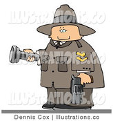 Royalty Free Stock Illustration of a Uniformed Ranger Armed with a Gun and Pointing a Flashlight by Djart