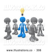 Royalty Free Stock Illustration of a Unique One Blue Person in a Group of Gray People, Thinking up a Creative Idea, with a Lightbulb over His Head by 3poD