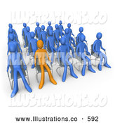 Royalty Free Stock Illustration of a Unique Orange Person Standing out in a Crowd of Blue People Seated in Chairs During a Staff Meeting by 3poD