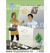Royalty Free Stock Illustration of a Upsetting Rude Female Customer Talking on Her Cell Phone and Holding up a Finger While Making a Customer Service Man Wait to Assist Her by Vitmary Rodriguez