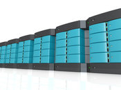 Royalty Free Stock Illustration of a Wall of Blue Computer Server Towers on White by 3poD