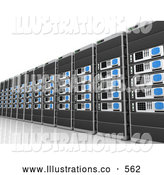 Royalty Free Stock Illustration of a Wall of Computer Server Towers on White by 3poD