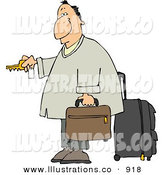 Royalty Free Stock Illustration of a Weary Traveler Businessman Checking into a Hotel Room by Djart