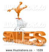 "Royalty Free Stock Illustration of a Website Shopping Cart over Big Orange Text Reading ""SALES"" by 3poD"