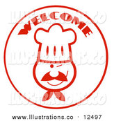 August 12nd, 2016: Royalty Free Stock Illustration of a Welcome Chef Face Circle by Hit Toon