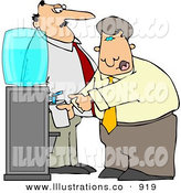 Royalty Free Stock Illustration of a White Boss Keeping a Close Eye on an Employee Filling His Cup with Water by Djart