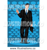 Royalty Free Stock Illustration of a White Business Man Pointing over Blue by Mayawizard101