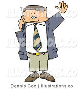 Royalty Free Stock Illustration of a White Business Man Talking on a Cellphone and Waving at Someone by Djart