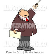 Royalty Free Stock Illustration of a White Businessman During a Presentation Pointing a Pointer Stick by Djart