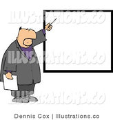 Royalty Free Stock Illustration of a White Businessman Pointing at a Blank Board on a Wall by Djart