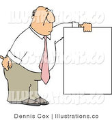 Royalty Free Stock Illustration of a White Businessman Wearing a Pink Tie and Holding a Blank Sign by Djart