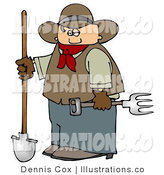 Royalty Free Stock Illustration of a White Cowboy Farmer Holding a Pitchfork & Shovel by Djart