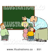 Royalty Free Stock Illustration of a White Elementary Male School Teacher Explaining to Students in Front of a Chalkboard by Djart