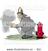 Royalty Free Stock Illustration of a White Fireman Spraying Water from a Hose Attached to a Fire Hydrant by Djart