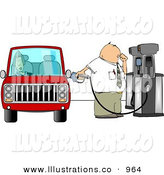 Royalty Free Stock Illustration of a White Fuel Attendant Man Pumping Unleaded Gas into a Woman's Car - Transportation Clipart by Djart