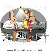 Royalty Free Stock Illustration of a White Husband and Wife Getting Taxes Done at Tax Time by Their Professional Accountant by Djart