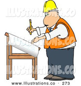 Royalty Free Stock Illustration of a White Male Architectural Engineer Writing on a Blueprint with a PencilWhite Male Architectural Engineer Writing on a Blueprint with a Pencil by Djart
