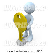 Royalty Free Stock Illustration of a White Man Inserting a Large Golden Key into a Keyhole, Symbolising Success, Security or Secrecy by 3poD