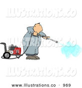Royalty Free Stock Illustration of a White Man Working and Cleaning with a Heavy Duty Gas Powered Pressure WasherWhite Man Working and Cleaning with a Heavy Duty Gas Powered Pressure Washer by Djart