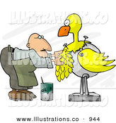 Royalty Free Stock Illustration of a White Taxidermist Man Working on a Big Yellow Bird by Djart
