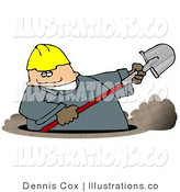 Royalty Free Stock Illustration of a White Worker Man Digging a Deep Underground Hole with a Shovel by Djart