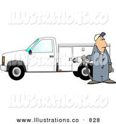 Royalty Free Stock Illustration of a White Worker Man Pumping Gas into a Commercial Utility Truck by Djart