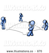 Royalty Free Stock Illustration of a Wireless Telephone Network Connecting a Group of Blue Men Talking on Cell Phones by Leo Blanchette