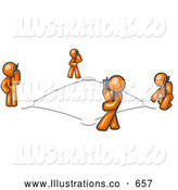 Royalty Free Stock Illustration of a Wireless Telephone Network of Connected Orange Men Talking on Cell Phones by Leo Blanchette