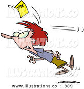 Royalty Free Stock Illustration of a Woman Chasing a Yellow Memo Slip After Being Bonked on the Head by Toonaday